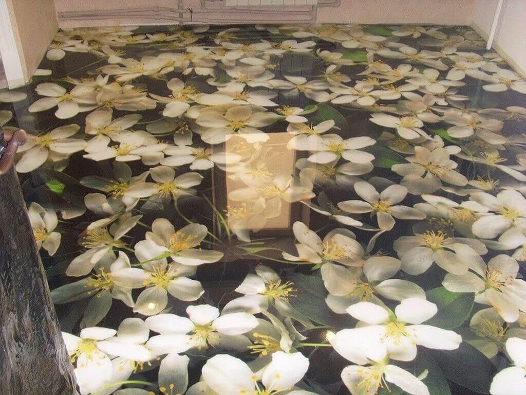 Наливна підлога квіти на кухні