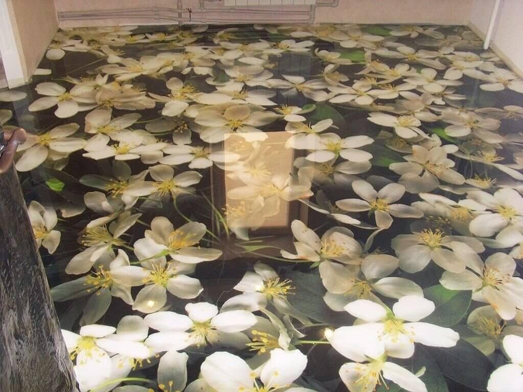 Наливной пол цветы в ванной комнате