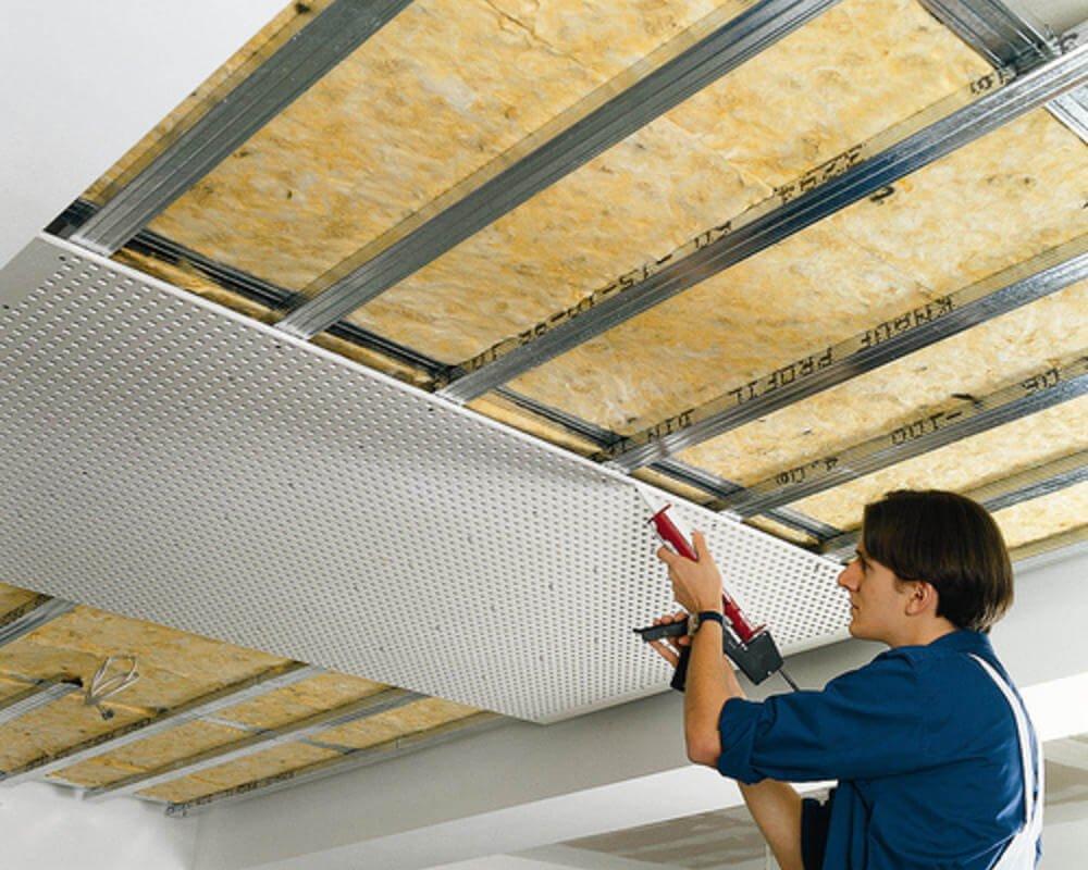 Шумоизоляция и звукоизоляция потолка