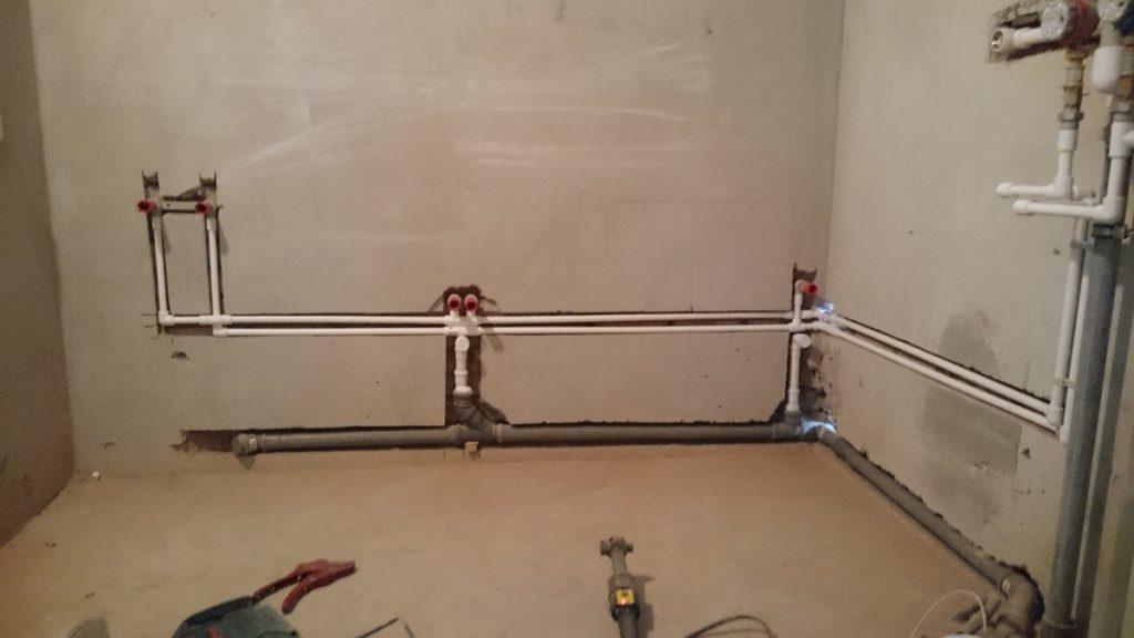 Разводка водопровода в ванной комнате