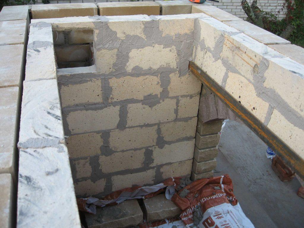 Перекрытие шамотным кирпичом арки