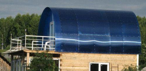 Крыша из поликарбоната для бани