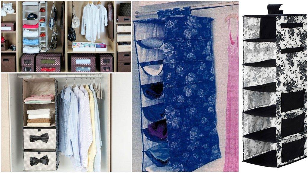 Навісні текстильні полки в шафі