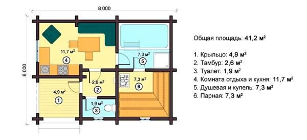 Планировка небольшой но уютной бани