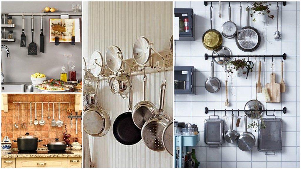 Рейлінги для зберігання на кухні