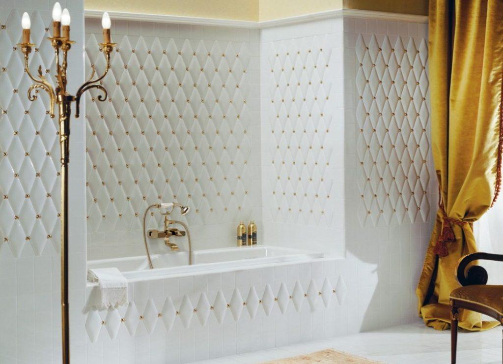 Плитка ромбы в ванной