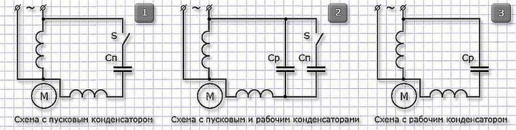 Схема подключения однофазного электродвигателя 220 В