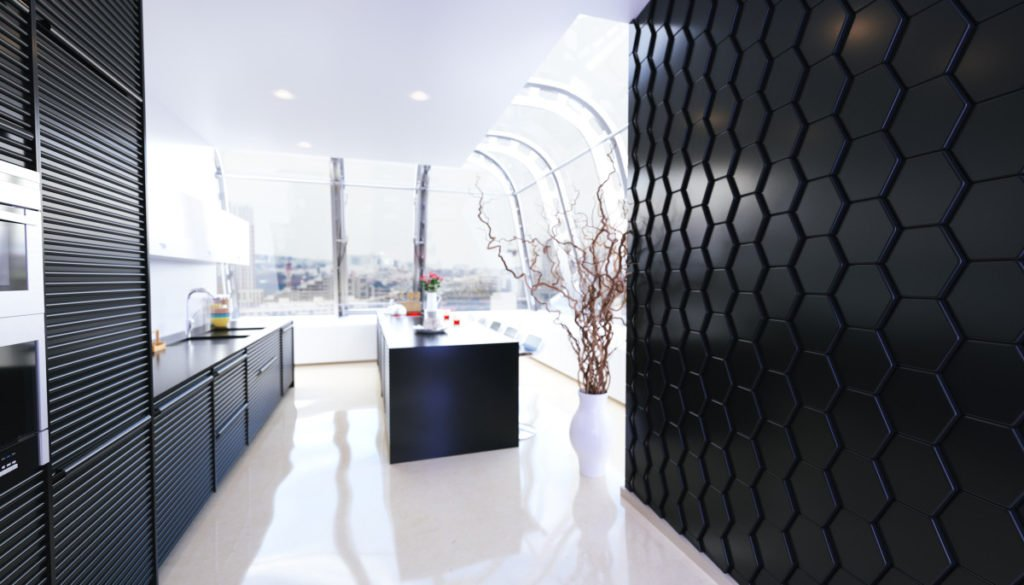 3D панель в інтер'єрі кухні
