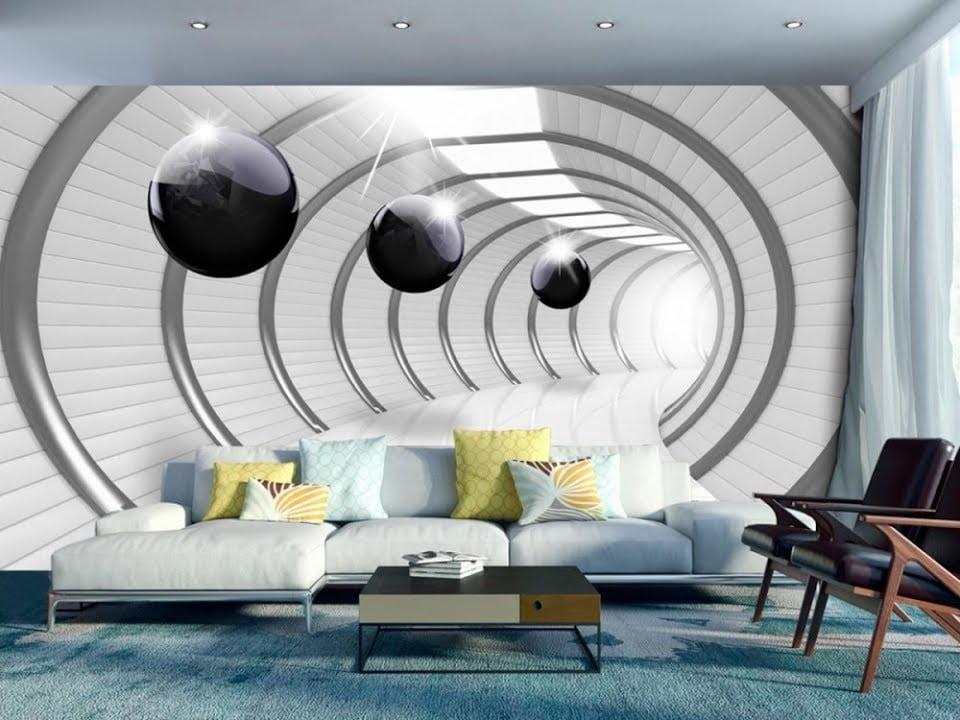 3 D фотообои расширяющие пространство в интерьере гостиной