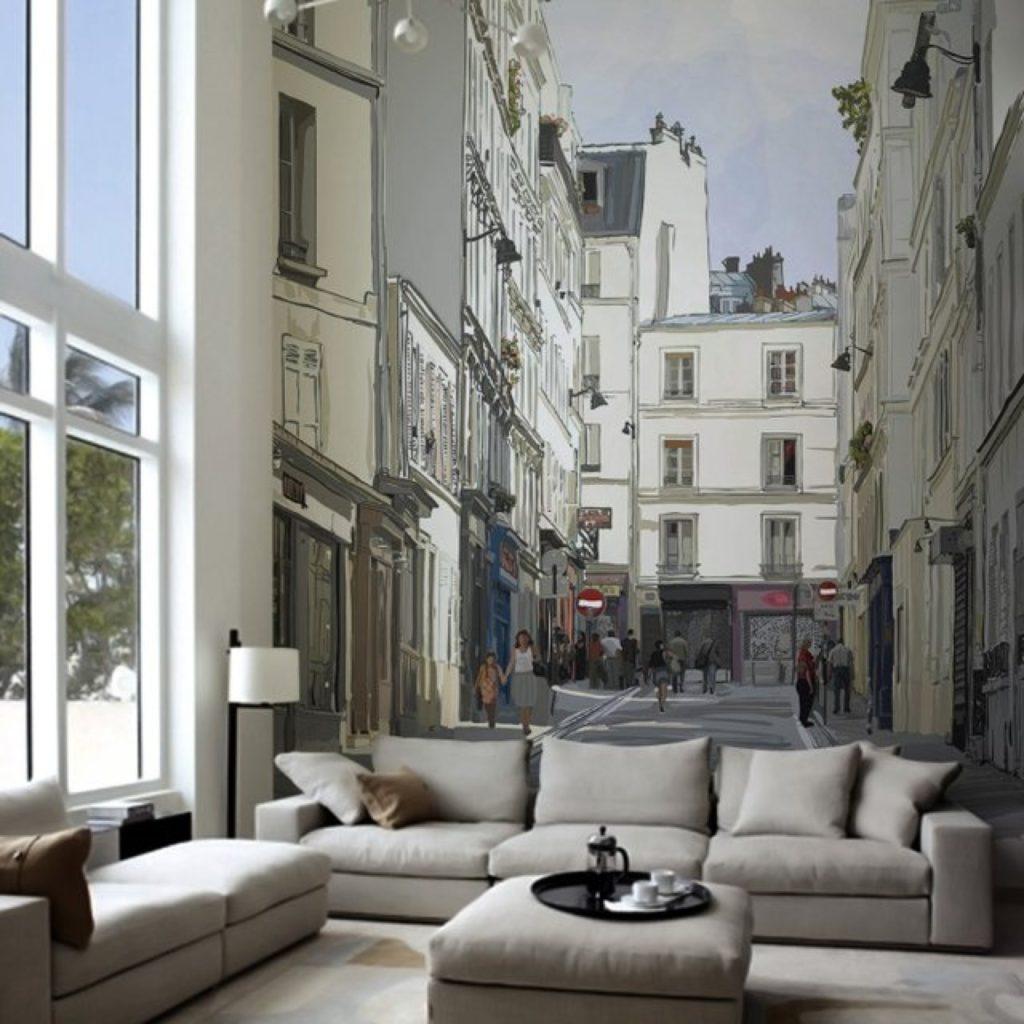 Фотообои расширяющие пространство в интерьере гостиной
