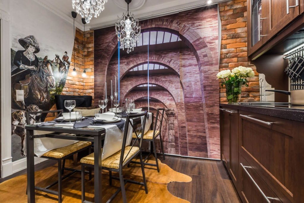 Фотошпалери які розширюють простір в інтер'єрі кухні