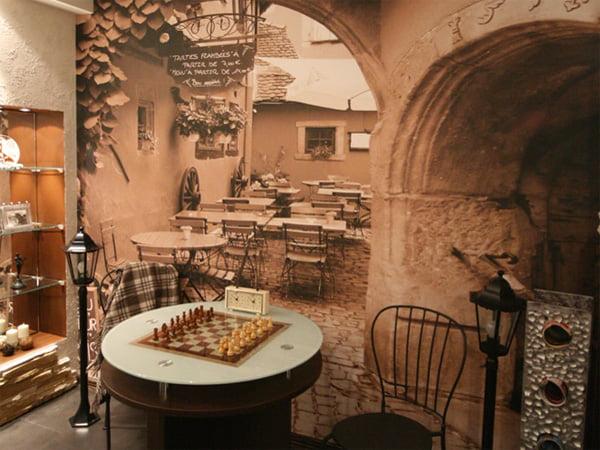 Фотообои расширяющие пространство в интерьере кухни