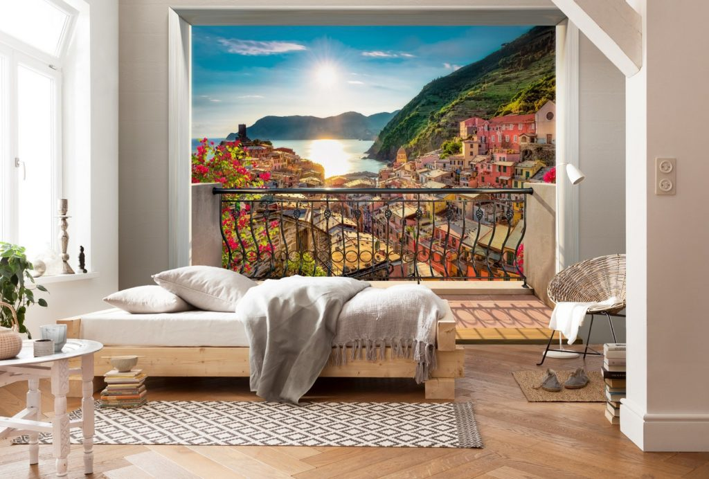 Фотообои расширяющие пространство в интерьере спальни