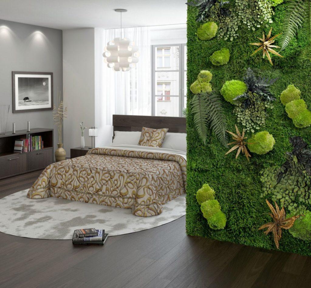 Панели из стабилизированного мха в интерьере спальни