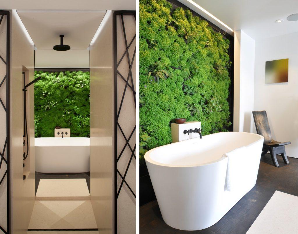 Панели из стабилизированного мха в интерьере ванной