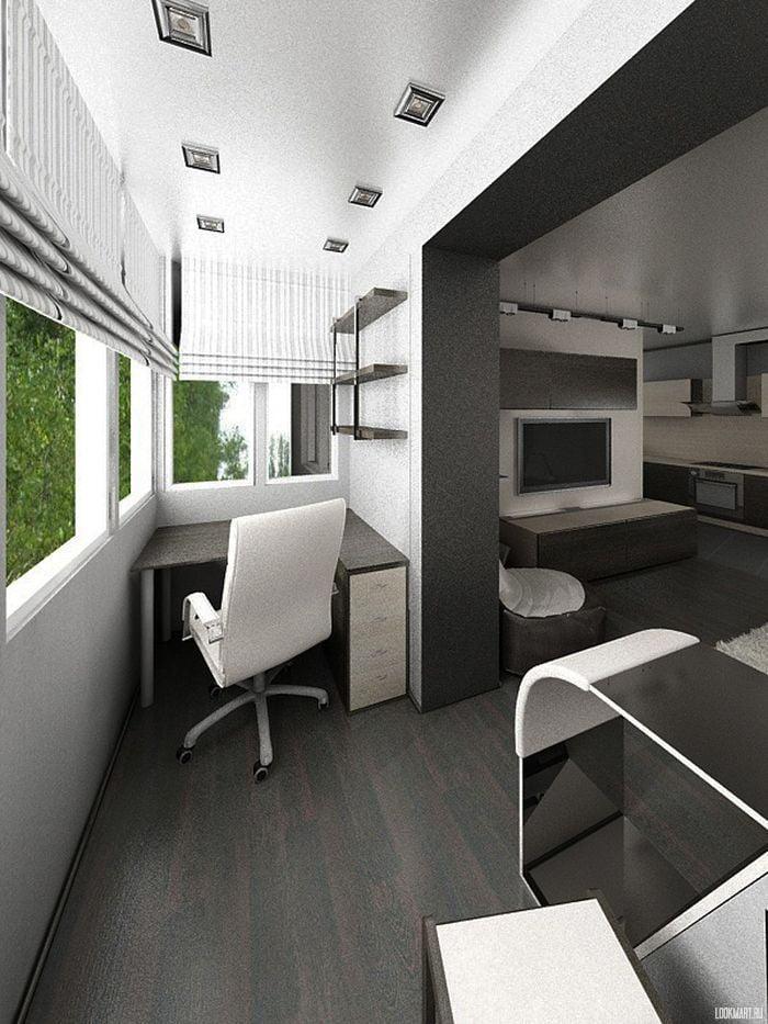 Кабінет на балконі дизайн