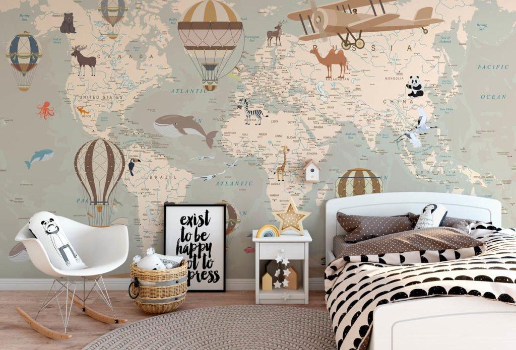 Фотообои для подростка. Карта мира