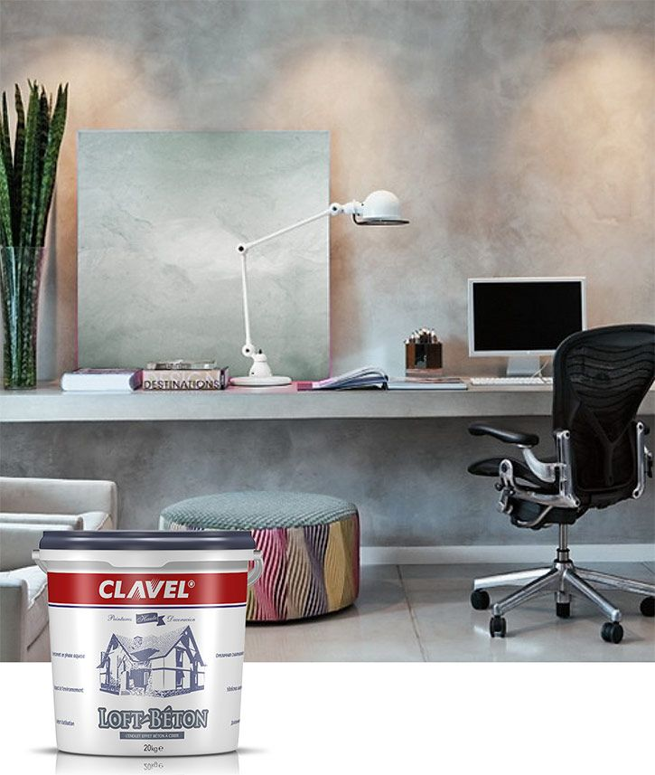 Декоративная штукатурка с эффектом бетона Clavel Loft-Beton применяется в современных интерьерах стиля лофт и минимализм