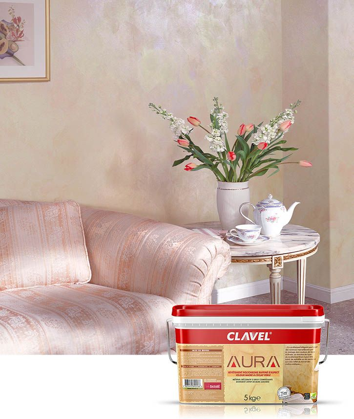 Декоративное покрытие Clavel Aura c имитацией гладкого шелка