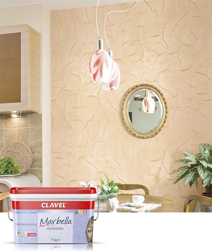 Фактурная штукатурка Marbella создает эффект мрамора с глянцевыми прожилками