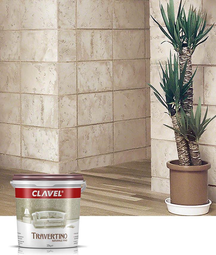 Полностью натуральная известковая декоративная штукатурка Clavel Travertino Naturale для создания эффекта классической римской кладки