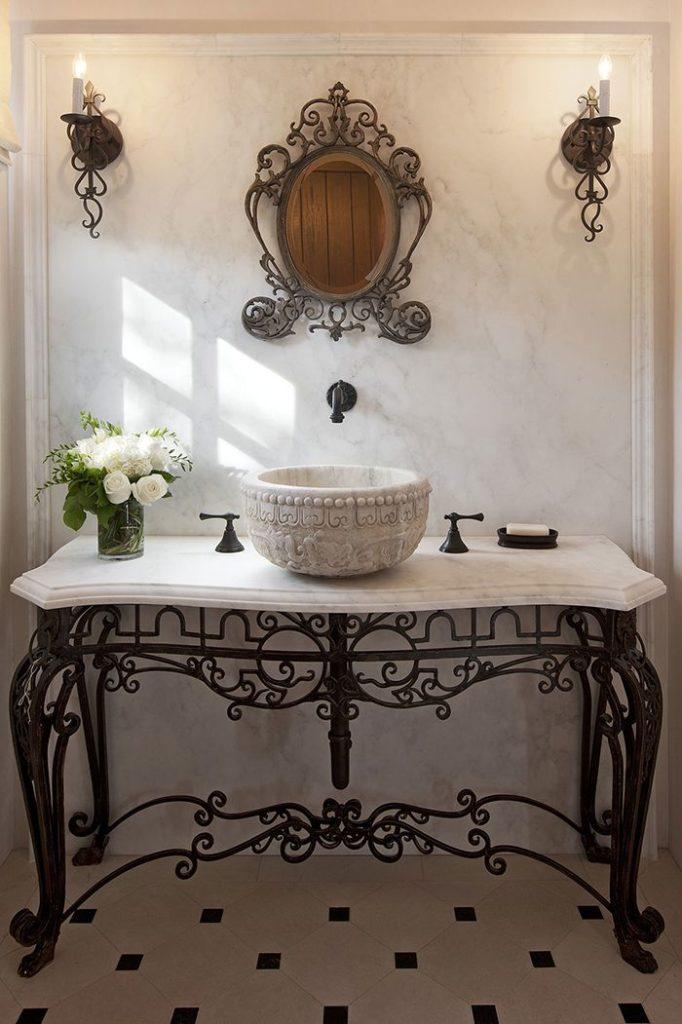 Тумба с раковиной для ванной кованая