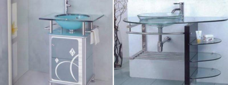 Тумба з раковиною для ванної скляна