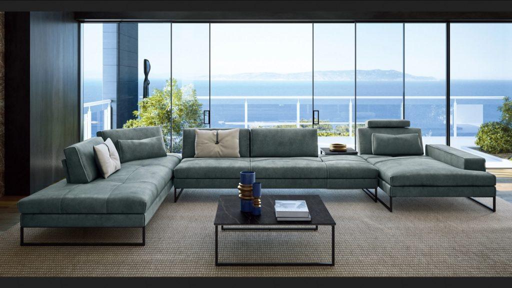 Кожаный диван на металлическом каркасе