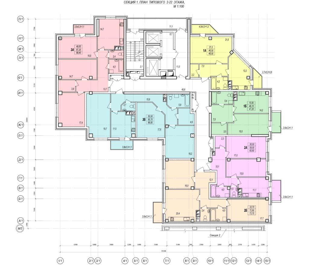 Планировка этажа новостройки