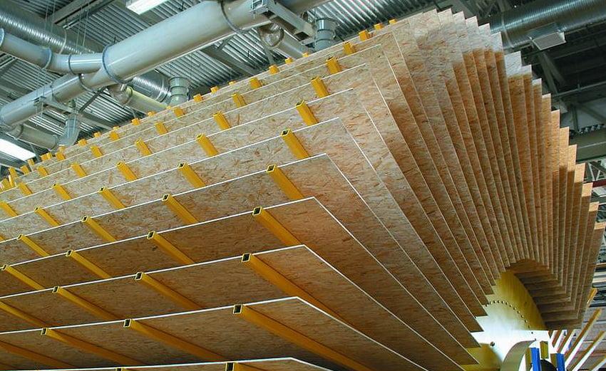 Для охолодження деревно-стружкових плит використовують віялові охолоджувачі, що представляють собою установку з обертовим барабаном